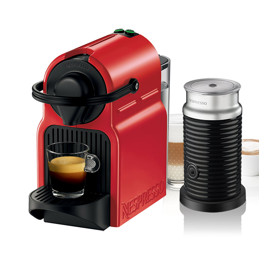 krups nespresso innisia red coffee machine with aeroccino. Black Bedroom Furniture Sets. Home Design Ideas