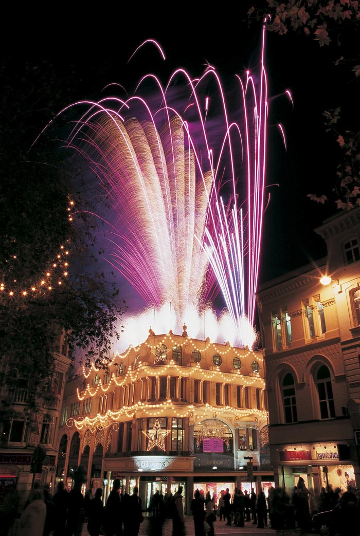 Fireworks above the London Street store