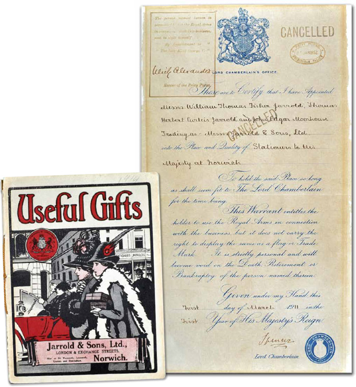 Jarrold granted a Royal Warrant for stationery in 1911