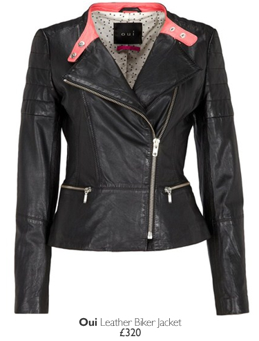 Oui Leather Biker Jacket - £320