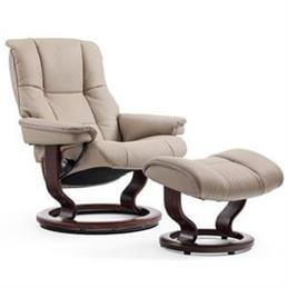Stressless Mayfair Medium Recliner and Foot Stool in Paloma Chestnut