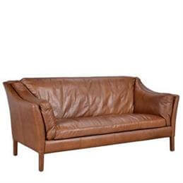 Wellington High Back Two Seater Sofa in Riders Nut Leather