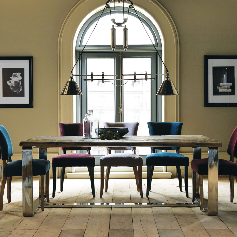 Bonneville Large Dining Table in Natural and Shiny Steel | Jarrold Norwich & Bonneville Large Dining Table in Natural and Shiny Steel | Jarrold ...
