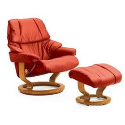 Stressless Reno Large Recliner And Foot Stool In Paloma Copper Leather With Walnut Signature Base