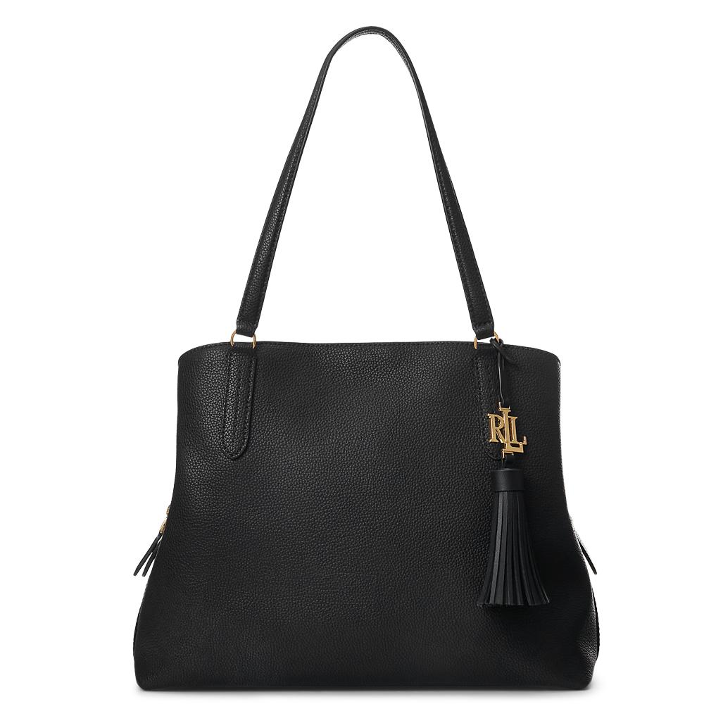 Lauren Ralph Lauren Leather Large Quinn Black Shoulder Bag