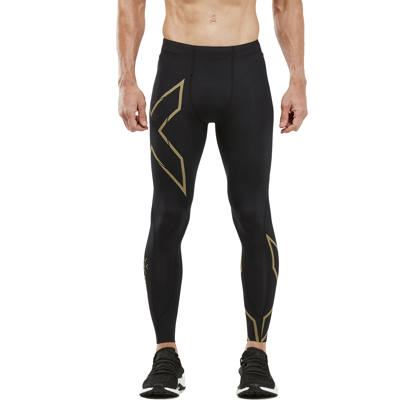 dd46cf04e282f 2XU Men's MCS Run Compression Tights - Black Gold Reflective | Mens ...