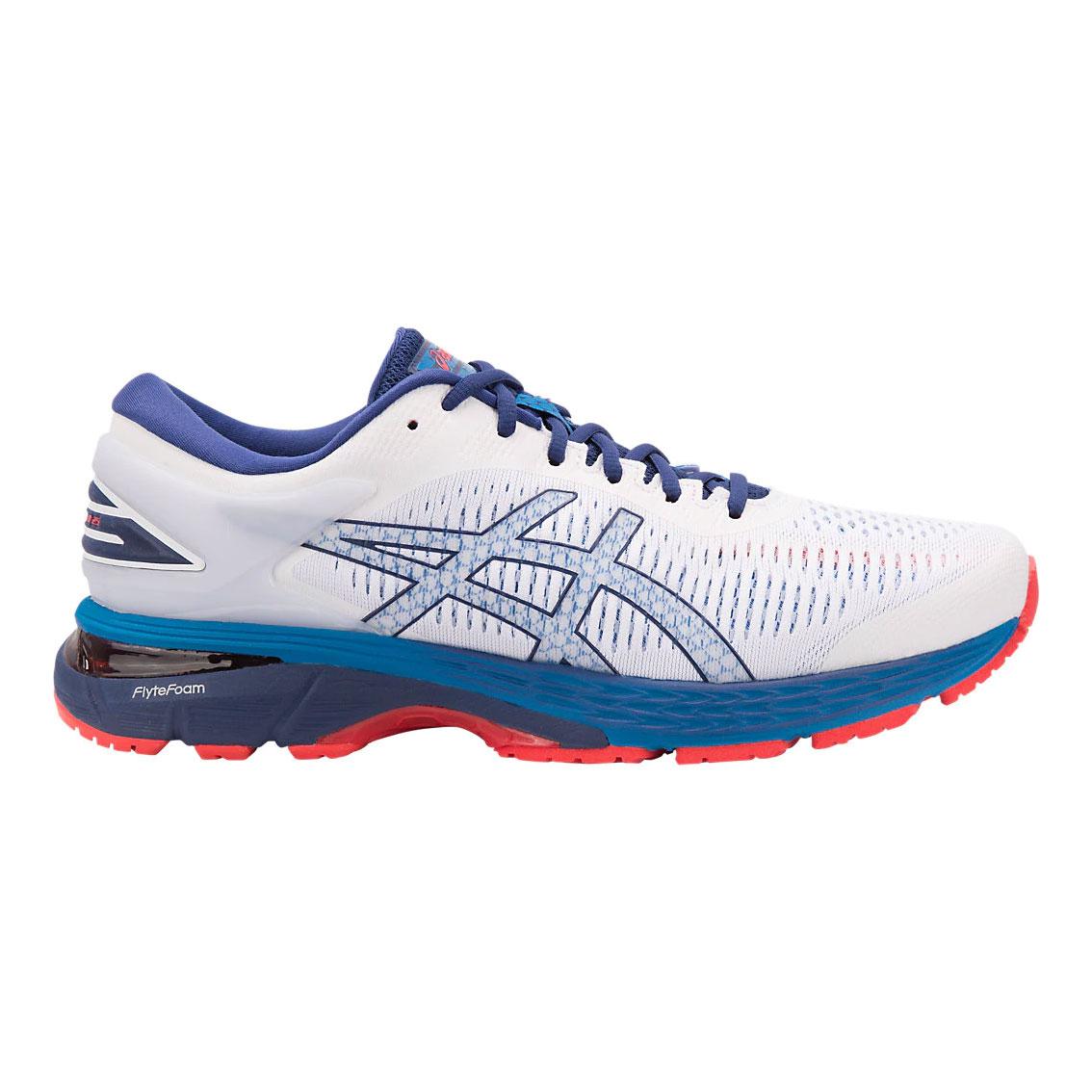 Asics Mens Gel Kayano 25 Running Shoe White Blue Print Mild Pronation 8ab5b207c9a2