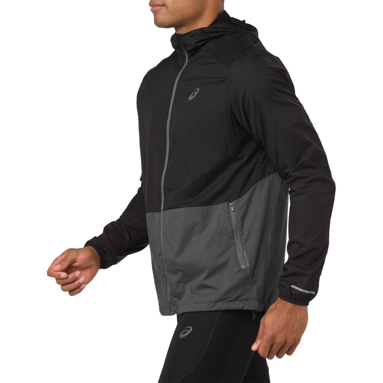 b2fd46475 Asics Men's Packable Running Jacket - Dark Grey Heather | Men's ...