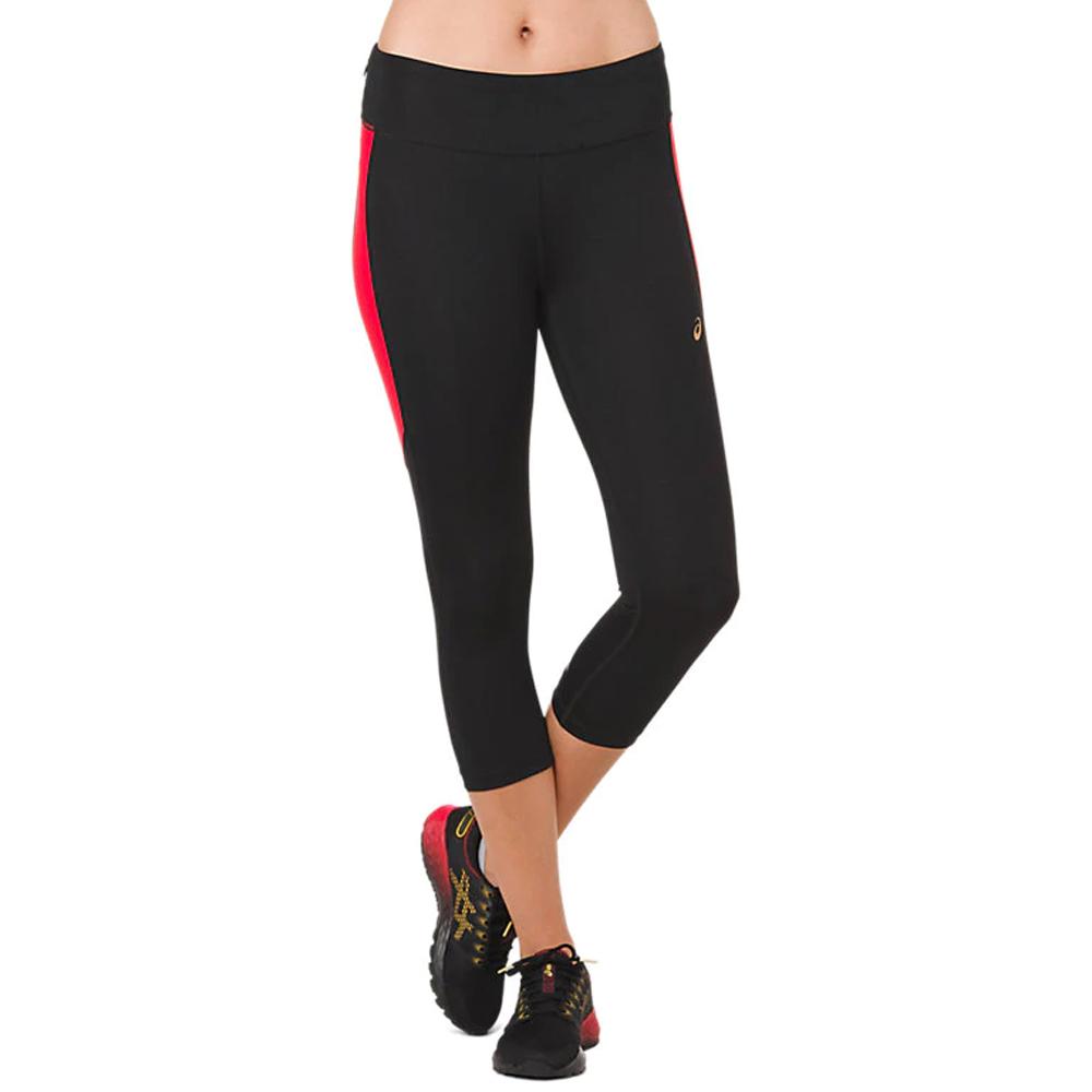 2fd8f81cb9319c Asics Women's Running Capri Tight - Black/Red | Women's Trousers and ...