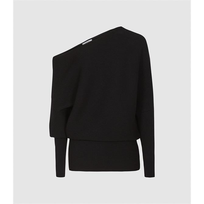 REISS LORNA Black Asymmetric Knitted Top