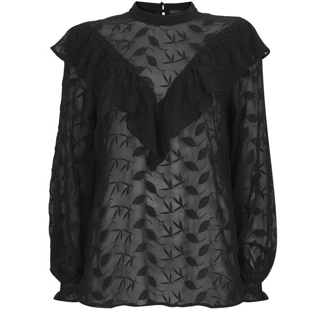 Mint Velvet Black Ruffled Embroidered Top Black