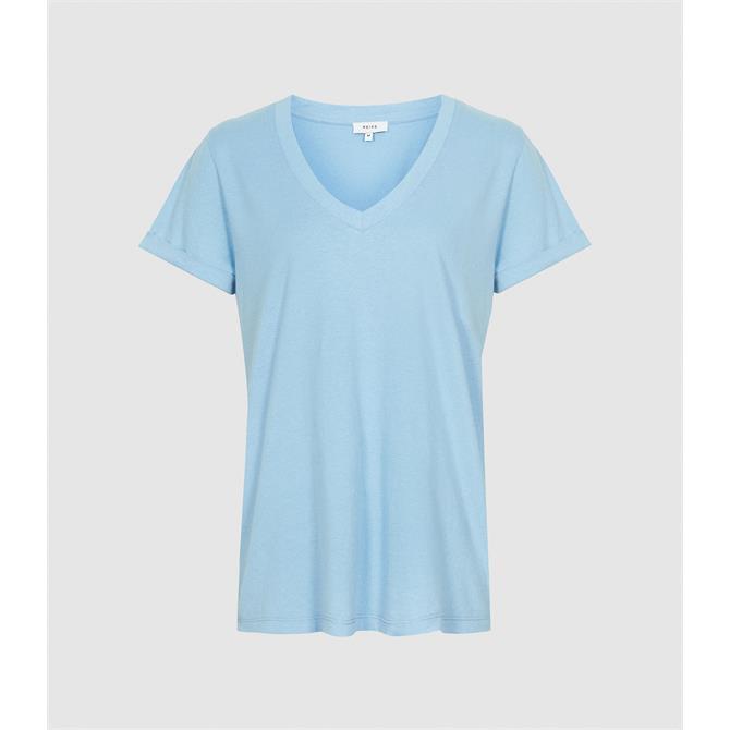 REISS LUANA Blue Cotton jersey V-Neck T-Shirt