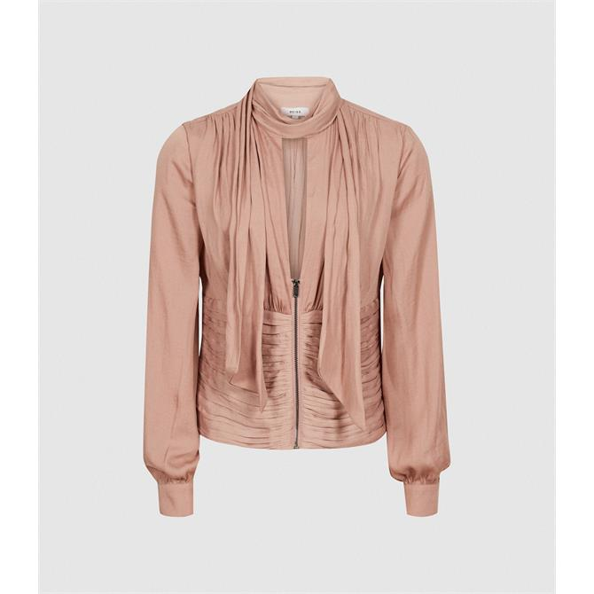 REISS SKYE Pussy Bow Fitted Blouse