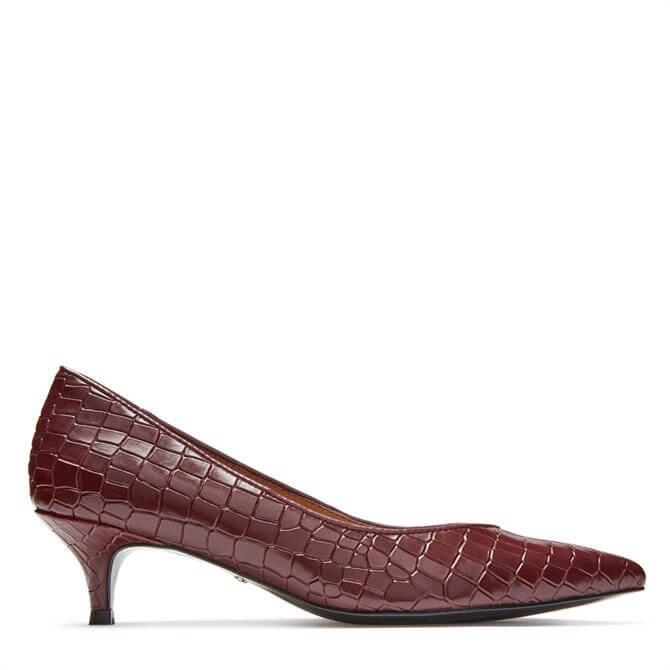Vionic Josie Kitten Heels in Wine Croc Effect Leather