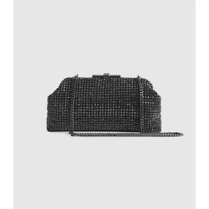 REISS ADALINE Gunmetal Embellished Clutch