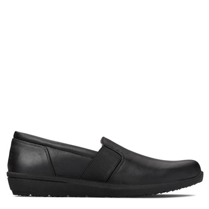 Vionic Magnolia Gianna Flat Black Leather Slip on Shoe