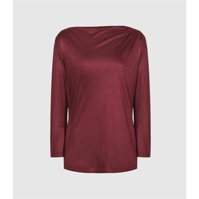 REISS FAYE Berry Red Straight Neck Top