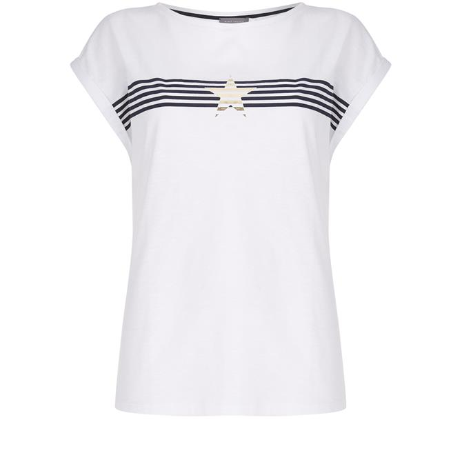 Mint Velvet White Stripe Star T-Shirt