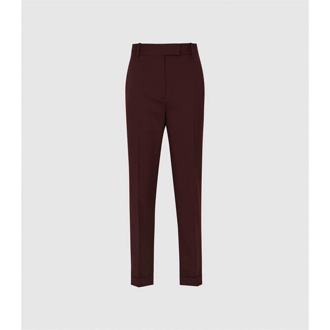 REISS FREYA Berry Red Slim Fit Tailored Trousers