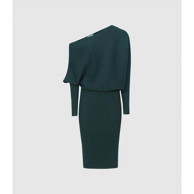 REISS LARA Black Off-the-shoulder Knitted Dress
