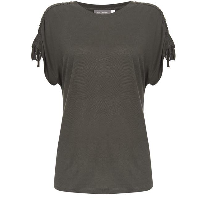 Mint Velvet Khaki Tie Shoulder T-Shirt Green