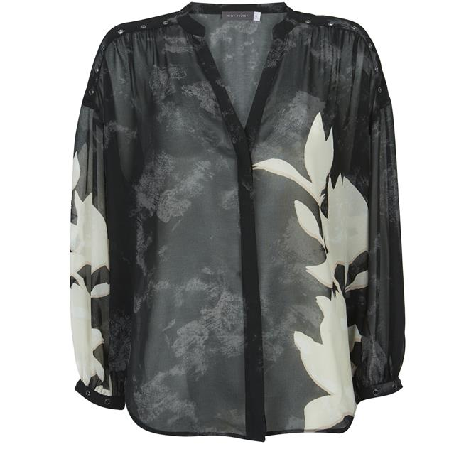 Mint Velvet Monica Floral Print Blouse Black