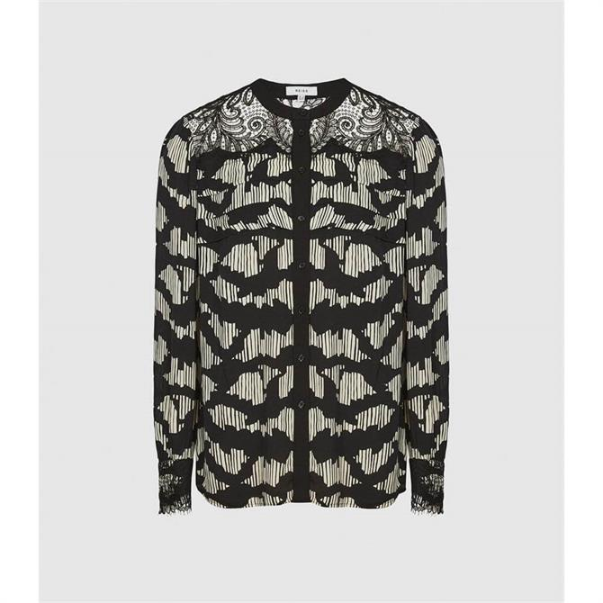 REISS ANA Printed Blouse With Lace Detailing