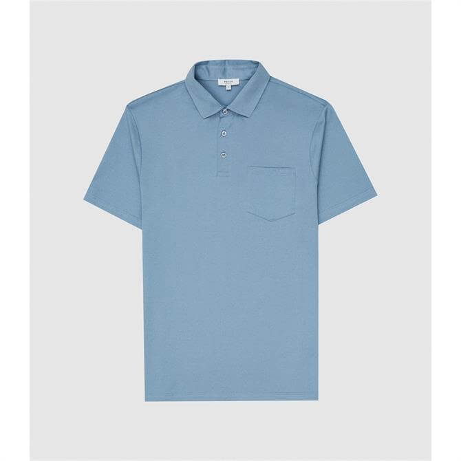 REISS ELLIOT Blue Mercerised Egyptian Cotton Polo