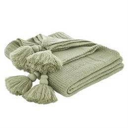 Bianca Green Tassel Knit Throw