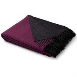 Biederlack Berry/Graphite Wool-Cashmere Blend Throw