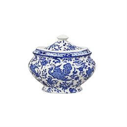 Burleigh Blue Regal Peacock Covered Jam Pot