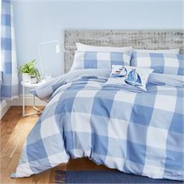 Catherine Lansfield Boston Blue Checked Duvet Set