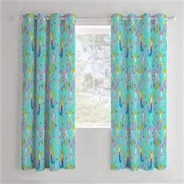 Catherine Lansfield for Kids Mermaids Eyelet Curtains