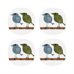 David Weidman Family of Birds Set of 4 Coasters