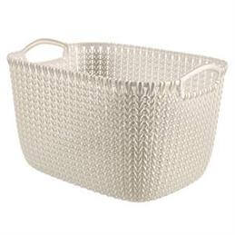 Curve Resin Knit Rectangular Basket: 19 Litre