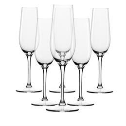 Dartington Set Of 6 Crystal Glass Champange Flutes
