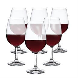 Dartington Set Of 6 Large Red Crystal Wine Glasses