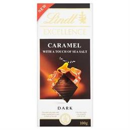 Lindt Excellence Caramel & Seasalt Dark Chocolate Bar 100g