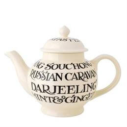 Emma Bridgewater Black Toast All Over Writing 4 Cup Teapot