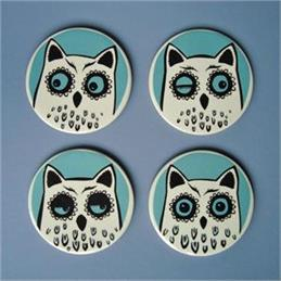 Hannah Turner Owl Set of 4 Coasters
