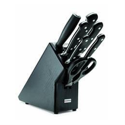 Wüstof Classic 7 Piece Knife Set: Plus Black Knife Block