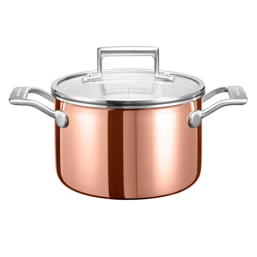 Kitchenaid 3 ply copper saucepan jarrold norwich for Kitchen 17 delivery
