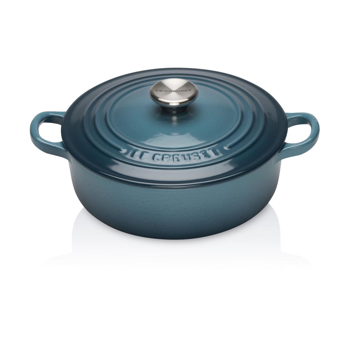 Le Creuset 22cm Cast Iron Risotto Pot: Marine Blue | Jarrold, Norwich