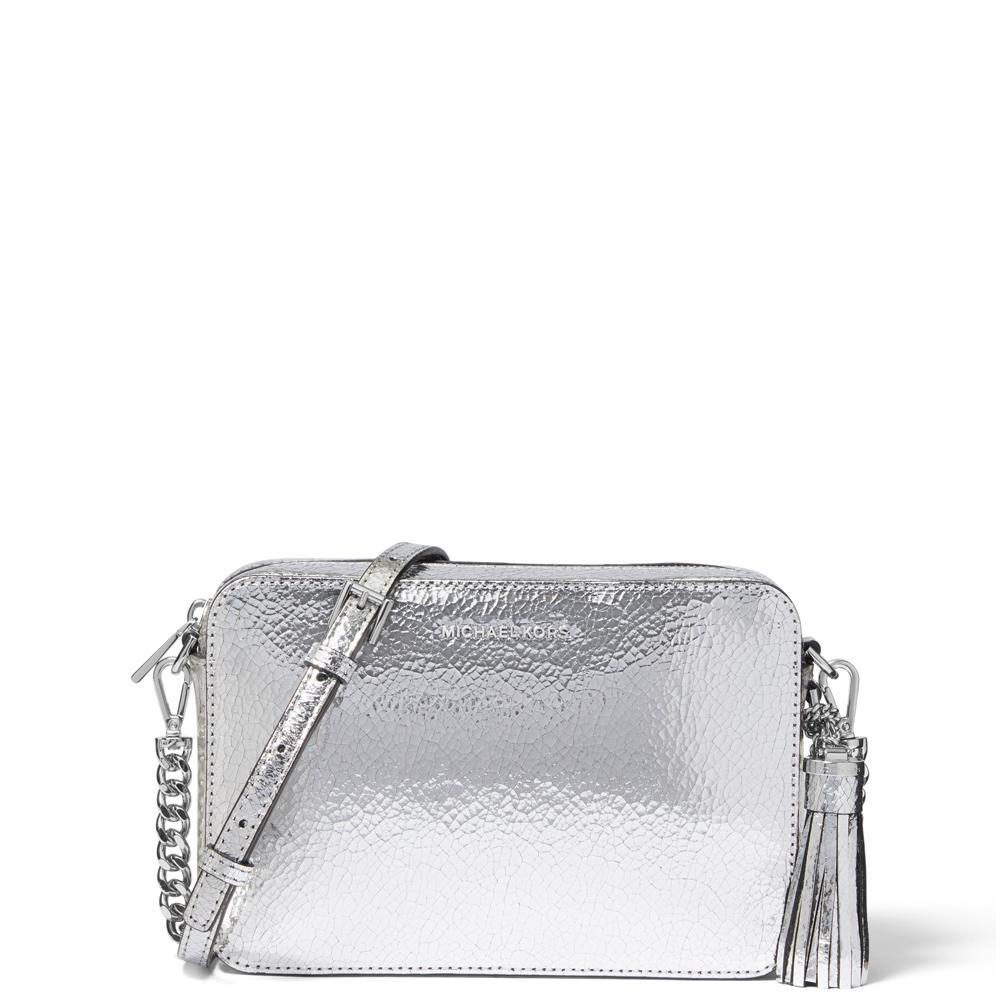 ed61b6a71 Michael Michael Kors Ginny Medium Crackled Metallic Silver Leather  Crossbody Bag | Jarrold, Norwich