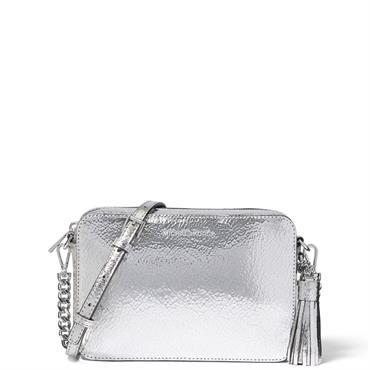bc12d927f4941d ... Michael Michael Kors Ginny Medium Crackled Metallic Silver Leather  Crossbody Bag