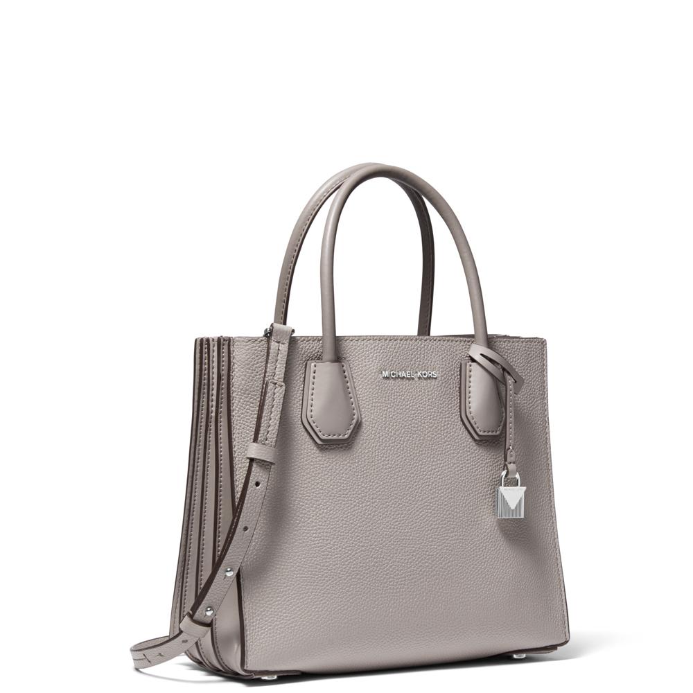 5af0a15b5131 Michael Kors Mercer Pearl Grey Pebbled Leather Accordion Crossbody Bag