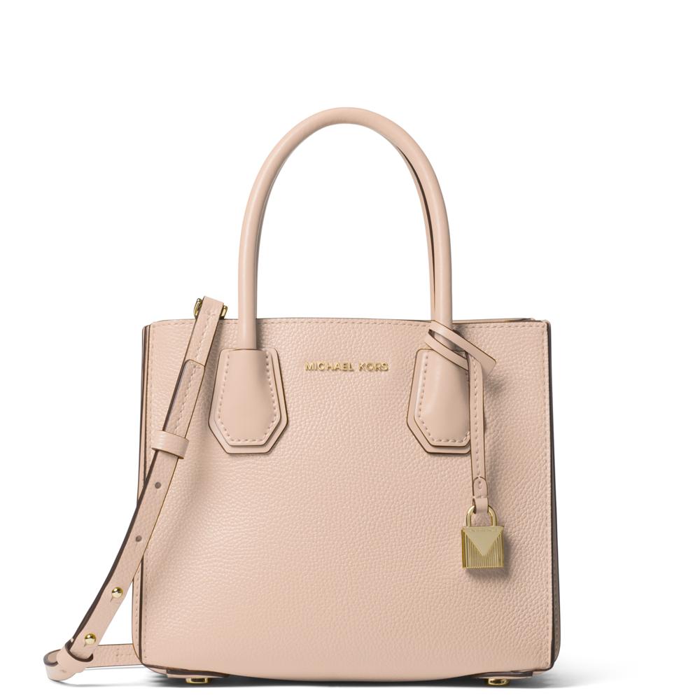 09cf1fe1b8ac54 Michael Kors Mercer Soft Pink Pebbled Leather Accordion Crossbody Bag