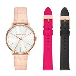 Michael Kors Ladies Pyper Three-Hand Multi-Colour Leather Watch Set