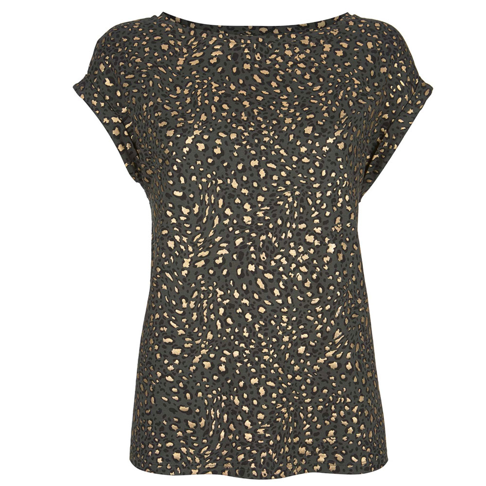 e9f274ea54be Mint Velvet Khaki Animal Foil Print T-Shirt | Tops | Tops | Jarrolds ...