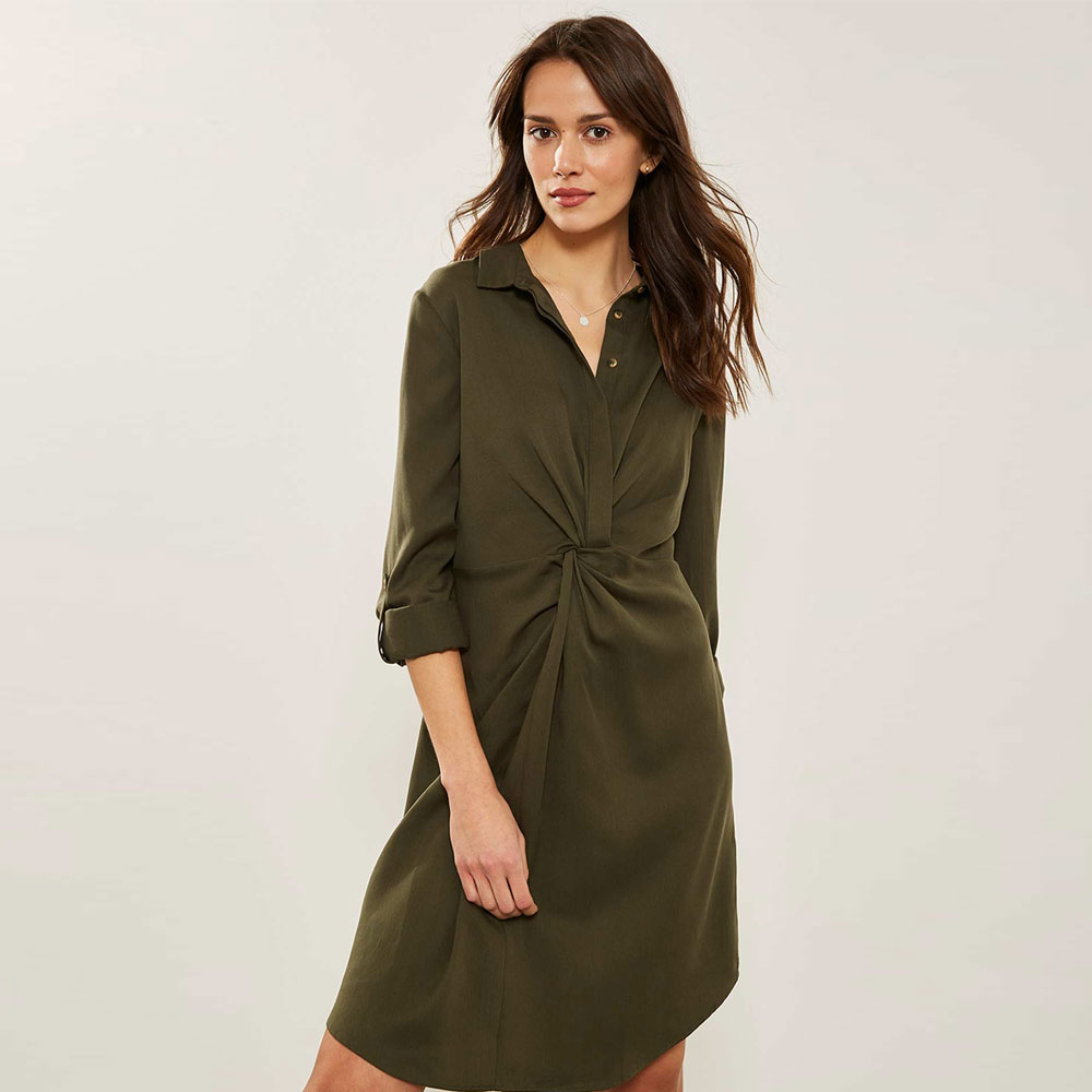 8a4ecd7f970 Mint Velvet Khaki Twist Front Shirt Dress